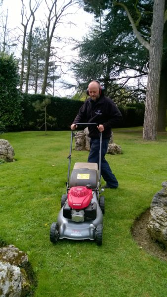 Rotary mower, mowing, Winterbourne House and Garden, Digging for Dirt